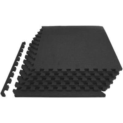 Thick Exercise Puzzle Mat Black 24 in. x 24 in. x 0.75 in. EVA Foam Interlocking Anti-Fatigue (6-pack) (24 sq. ft.)