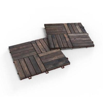 CAMP 20, 1 ft. x 1 ft. x 0.5 in., 10 sq. ft., Acacia Deck Tiles in Espresso Stain Finish, 10 Tiles (10-Pack)