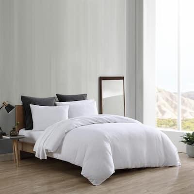Textured Geo 3-Piece White Cotton King Bonus Comforter Set