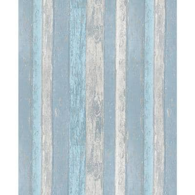 Cannon Blue Distressed Wood Peelable Roll (Covers 56.4 sq. ft.)