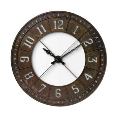 Mariana Round Brown XL Industrial Style Wall Clock