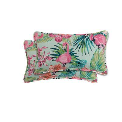 Bridget Flamingo Bermuda with Orangecicle Version B Outdoor Lumbar Pillow (2-Pack)