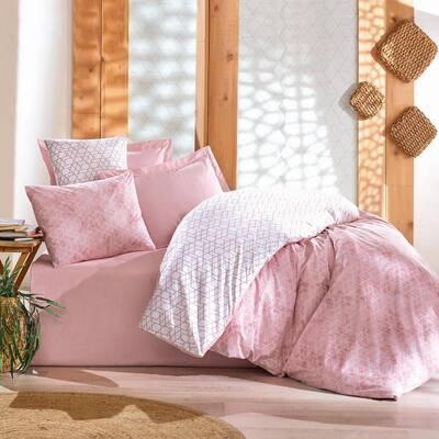 Peach Girl Cotton Duvet Cover Set Pink, Full Size Duvet Cover, 1-Duvet Cover, 1-Fitted Sheet and 2-Pillowcases