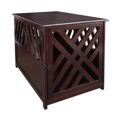 Modern Wood Lattice Pet Crate End Table, Espresso