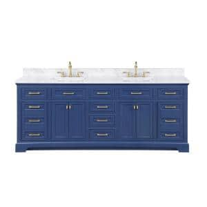 Milano 84 in. W x 22 in. D Bath Vanity in Blue with Quartz Vanity Top in White with White Basin
