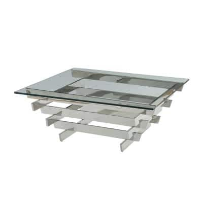 Salonius 41 in. Clear/Stainless Steel Large Square Glass Coffee Table