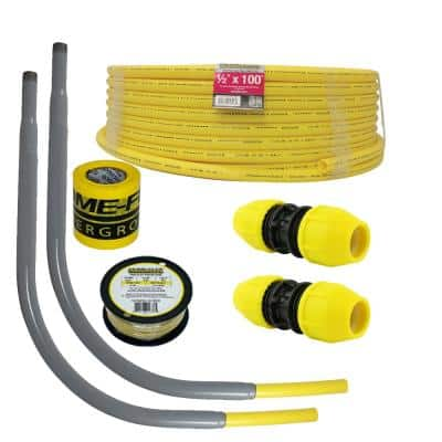 Underground 1/2in IPS New Install Kit (1)1/2inx100ft Pipe, (2)1/2in Couplers, (2)1/2in Meter Risers, Gas Line Detection