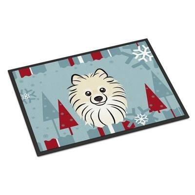 24 in. x 36 in. Indoor/Outdoor Winter Holiday Pomeranian Door Mat