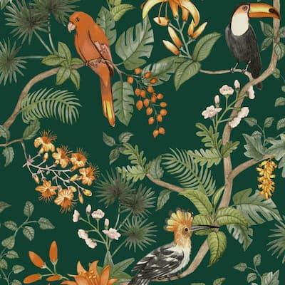 Birds of Paradise Rainforest Green Peel and Stick Wallpaper 56 sq. ft.