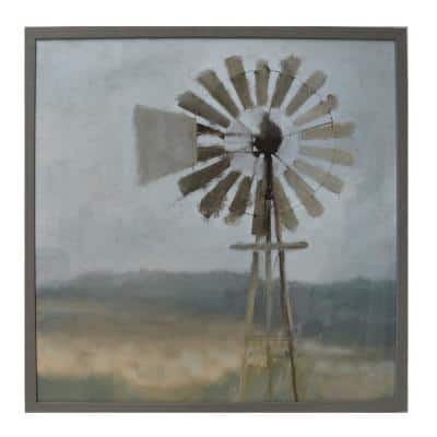 Square Framed Vintage Windmill Wall Art 32 in. H x 32 in. W