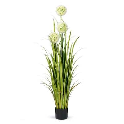 5 Feet High Artificial Reed with Hydrangea Similar Flowers and Decorative Crystal