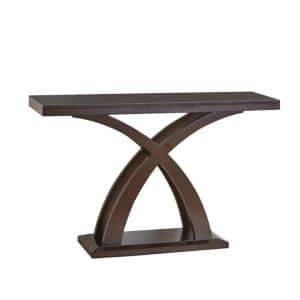 47 in. Brown Standard Rectangle Wood Console Table with X-Cross Base Support