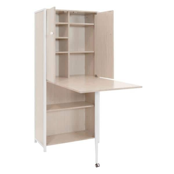 Sew Ready Armoire 58 5 In H X 24 5 In W X 12 In D Mdf Craft Or Home Office Storage Cabinet With Fold Out Table White Birch 13375 The Home Depot