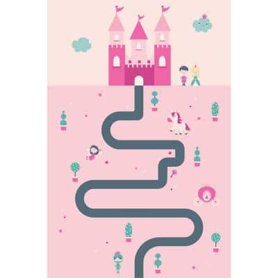 Decorative Pink Castle Laminated Kids Mat 39 in x 59 in