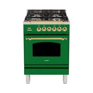 24 in. 2.4 cu. ft. Single Oven Italian Gas Range with True Convection, 4 Burners, Brass Trim in Emerald Green