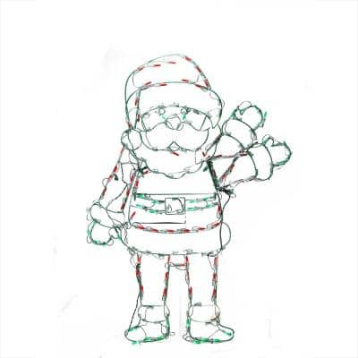 42 in. Christmas Pre-Lit Red White and Green LED Animation Waving Santa Outdoor Decoration