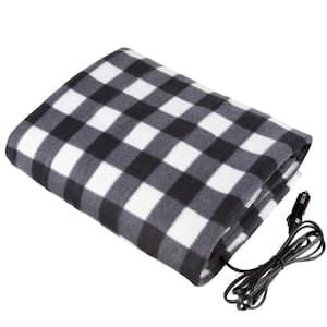 Black Polyester Throw Blanket