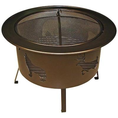 30 in. x 24 in. x 30 in. Round Rolled Steel Wood Wildlife Pattern Fire Pit in Bronze