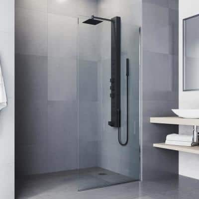 Bowery 58 in. x 5 in. 4-Jet High Pressure Shower Panel System with Square Rainhead and Tub Filler in Matte Black