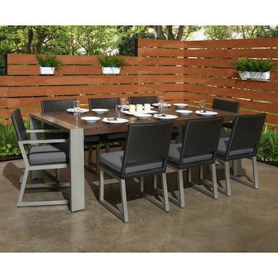 Milo Espresso 9-Piece Wicker Outdoor Dining Set with Sunbrella Charcoal Grey Cushions