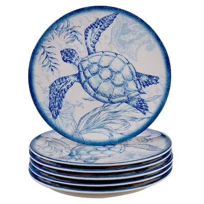 Oceanic 6-Piece Seasonal Multicolored Melamine 9 in. Salad Plate Set (Service for 6)
