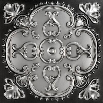Alhambra 2 ft. x 2 ft. Glue Up PVC Ceiling Tile in Antique Silver (100 sq. ft./case)