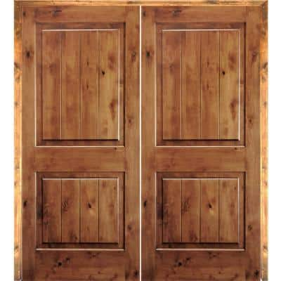 72 in. x96 in. Rustic Knotty Alder 2-Panel Square-Top/VG Both Active Solid Core Wood Double Prehung Interior French Door