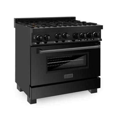 36 in. 4.6 cu. ft. Gas Range with Convection Gas Oven in Black Stainless Steel with Brass Burners