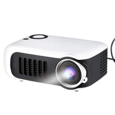 Portable Mini Projector with HDMI, USB and TF Memory Ports - Enhance Your Movie, TV and Gaming Experience, White
