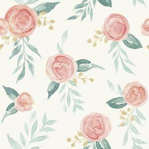 Watercolor Roses Red Paper Peel & Stick Repositionable Wallpaper Roll (Covers 34 Sq. Ft.)
