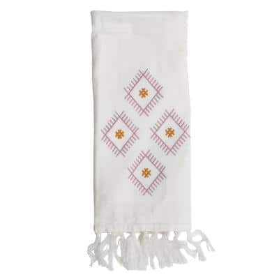 27 in. x 18 in. White Embroidered Diamond Woven Cotton itchen Tea Towel with Hand Sewn Fringe