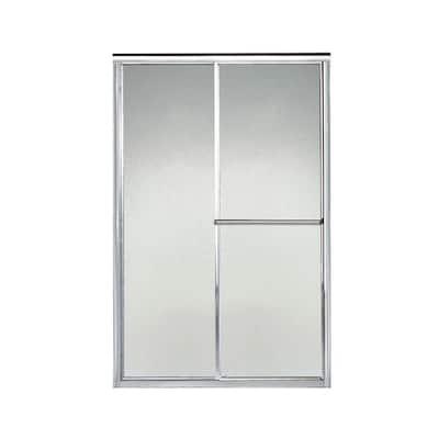 Deluxe 48 in. x 65-1/2 in. Framed Sliding Shower Door in Silver with Handle
