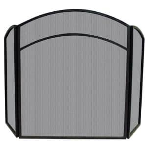 Black Wrought Iron 52 in. W 3-Panel Steel Frame Fireplace Screen with Arch Top and Craftsman Styling