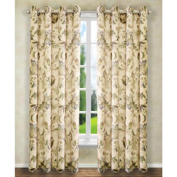 Linen Floral Grommet Room Darkening Curtain 50 In W X 63 In L 730462118172 The Home Depot