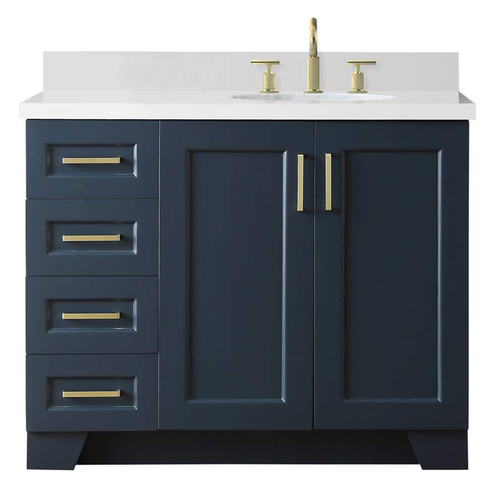 Ariel 43 In W X 22 In D Bath Vanity In Midnight Blue With Quartz Vanity Top In White With Right Offset White Oval Basin Q43srb Wqo Mnb The Home Depot