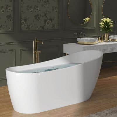59 in. Acrylic Oval Slipper Flatbottom Freestanding Bathtub in Glossy White