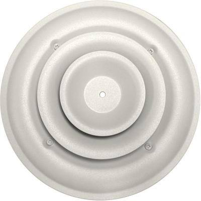 6 in. Round Ceiling Air Vent Register, White with Fixed Cone Diffuser and Bowtie Damper