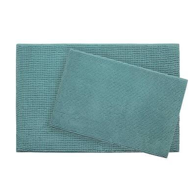 Plush Chenille Marine Blue 20 in. x 30 in. Memory Foam 2-Piece Bath Mat Set