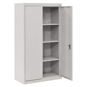 System Series 64 in. H x 30 in. W x 18 in. D Dove Gray Double Door Storage Cabinet with Adjustable Shelves