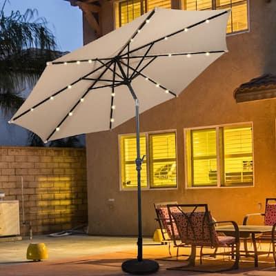 10 ft. Steel Market Tilt Patio Solar Umbrella LED with Crank in Beige