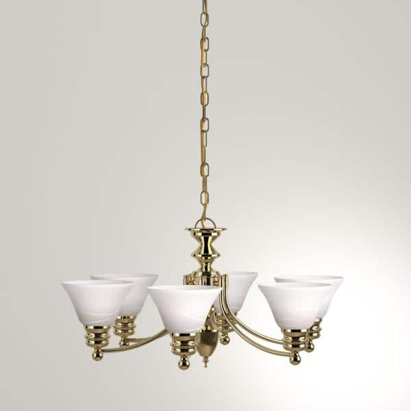 Glomar Nuwa 6 Light Polished Brass Chandelier With Alabaster Glass Hd 357 The Home Depot