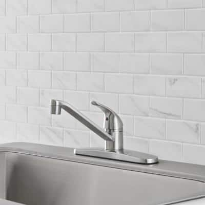 Single-Handle Standard Kitchen Faucet in Stainless Steel