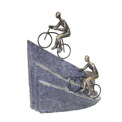 Transitional Bronze Polyresin Bike Riders Mountain Figurine