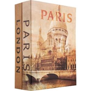 0.14 cu. ft. Steel Paris and London Dual Book Lock Box Safe with Key Lock, Tan