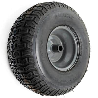 15 in. x 5.00-6 in. Front Wheel Assembly with Round Edge Tire and Grey Rims - Fits Most Riding Lawn Mowers
