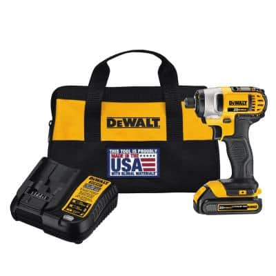 20-Volt MAX Cordless 1/4 in. Impact Driver, (1) 20-Volt 1.3Ah Battery, Charger & Bag