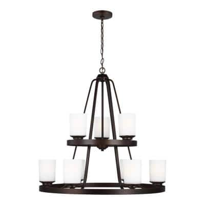 Kemal 9-Light Burnt Sienna Transitional Chandelier with Etched White Inside Glass Shades