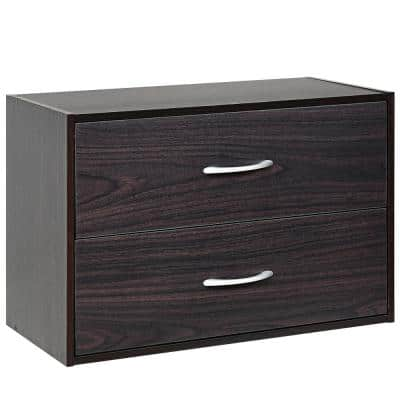 2-Drawer Brown Chest of Drawers 12 in. D x 24 in. W x 16 in. H
