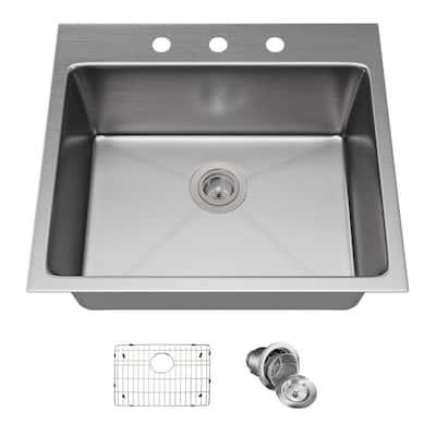 Drop-in Stainless Steel 23 in. 3-Hole Single Bowl Kitchen Sink