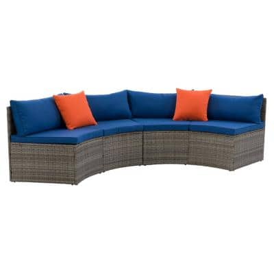 Parksville Blended Grey with Oxford Blue Cushions Patio Rattan Sectional Bench Set